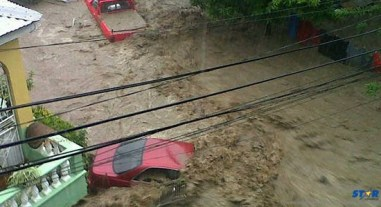 Several vehicles were washed away in the floods.