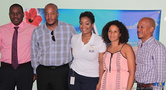Louis Lewis (SLTB), Louis Fernand (Peter & Company), Sergin Joseph (Saint Lucia Distillers), Marieanne Louviaux (Mercury Beach organizer) and Maritime Consultant Cuthbert Didier at a press conference on Wednesday.