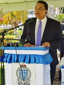 Prime Minister Kenny Anthony Addressing Police Sunday at a promotions ceremony.