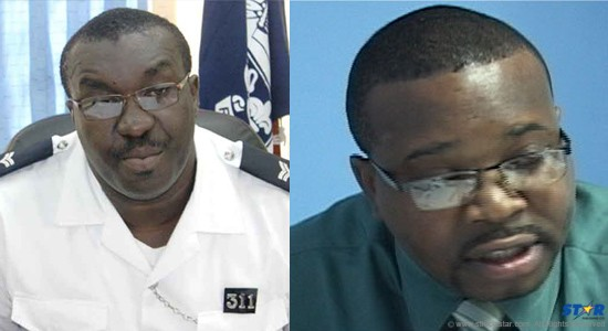 Left: Zachary Hippolyte, Police Press Relations Officer. Right: Silas Wilson, assistant to Infrastructure Minister Philip Pierre.