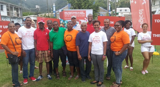 Team Digicel with Soufriere fire victims.