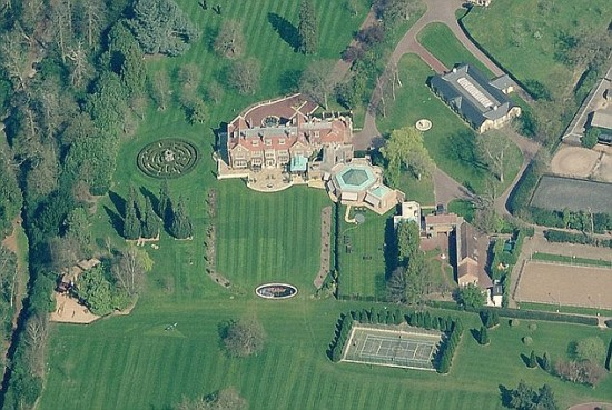 Saudi tycoon Sheik Walid Juffali owns this £15million country estate in Egham, Surrey, which boasts its own maze and tennis courts. The estate is next to Windsor Great Park and is just four miles from Windsor Castle.