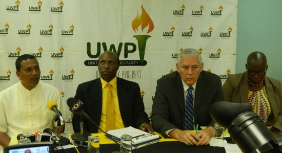 Present at Thursday's UWP press conference (l-r): Guy Joseph, Guy Mayers, Allen Chastanet and Gale Rigobert.