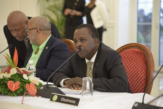 OECS Chairman Keith Mitchell (far right) addresses the Zika problem.