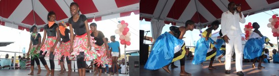 (Left) Dancers putting on a contemporary piece last Sunday. (Right) Singer John Antoine accompanied by FAC Dancers.