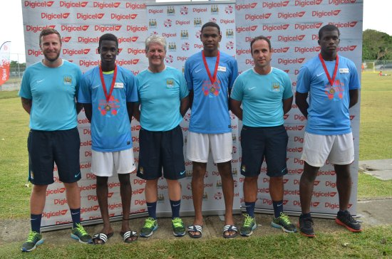 Tyrone Winter, Jervel Tobierre and Romario Lendor with Alan Dixon, Lead Coach for the Kickstart Clinic, and fellow Manchester City Coaches.