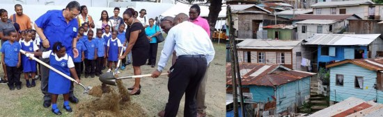 (Left) This picture was taken in 2014 at a sod-turning ceremony for rehabilitation of the Vieux Fort infant School. How many more sod turnings will the people of Vieux Fort have to endure before they see the changes that they desire and deserve? (Right) Shanty Town, Vieux Fort. Affordable housing and land acquisition continue to be out of the reach of many Vieux Fort residents, as with Saint Lucians living in other parts of the island.
