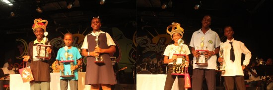 (Left) Top three in the primary category of the national schools calypso competition. (Right) Top three in the secondary schools category.