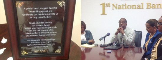 (Left) A poem composed by a staff member at the bank, displayed next to the book of condolence. (Right) Robert Fevrier, the bank's Executive Manager, Marketing & Public Relations, speaking at yesterday's press conference.