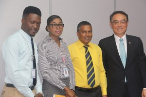 (L to R)Mr. Mervin-Alwyn Agiste, Mrs. Amanda Matoorah-John, Minister for Economic Development Hon. Guy Joseph, Ambassador of the Government of the Republic of China (Taiwan) Douglas C.T. Shen