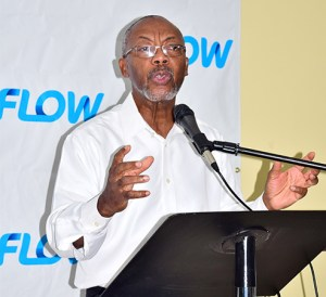 Monsignor Patrick Anthony delivers the Feature Address at the Flow Scholarship Presentation Ceremony 2017