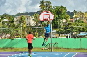 Basketballers at the Kenneth Wriggler King Court in Castries