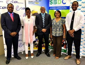 Anselm Mathurin (Flow), Sabina Valmont (Southern Business Association), Titus Preville (Department of Commerce), Paula James (Manufacturers Association), Wilton Jeremie (Youth Business Trust)