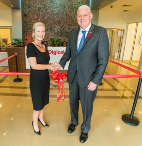 Hon. Allen Michael Chastanet, Prime Minister of Saint Lucia, Minister for Finance, Economic Growth, Job Creation, External Affairs and the Public Service and Vanessa Slowey, CEO Digicel Caribbean and Central America greet each other at the official opening of Digicel's new hub office in Saint Lucia.