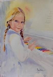 Lily at the Piano by Pat Long