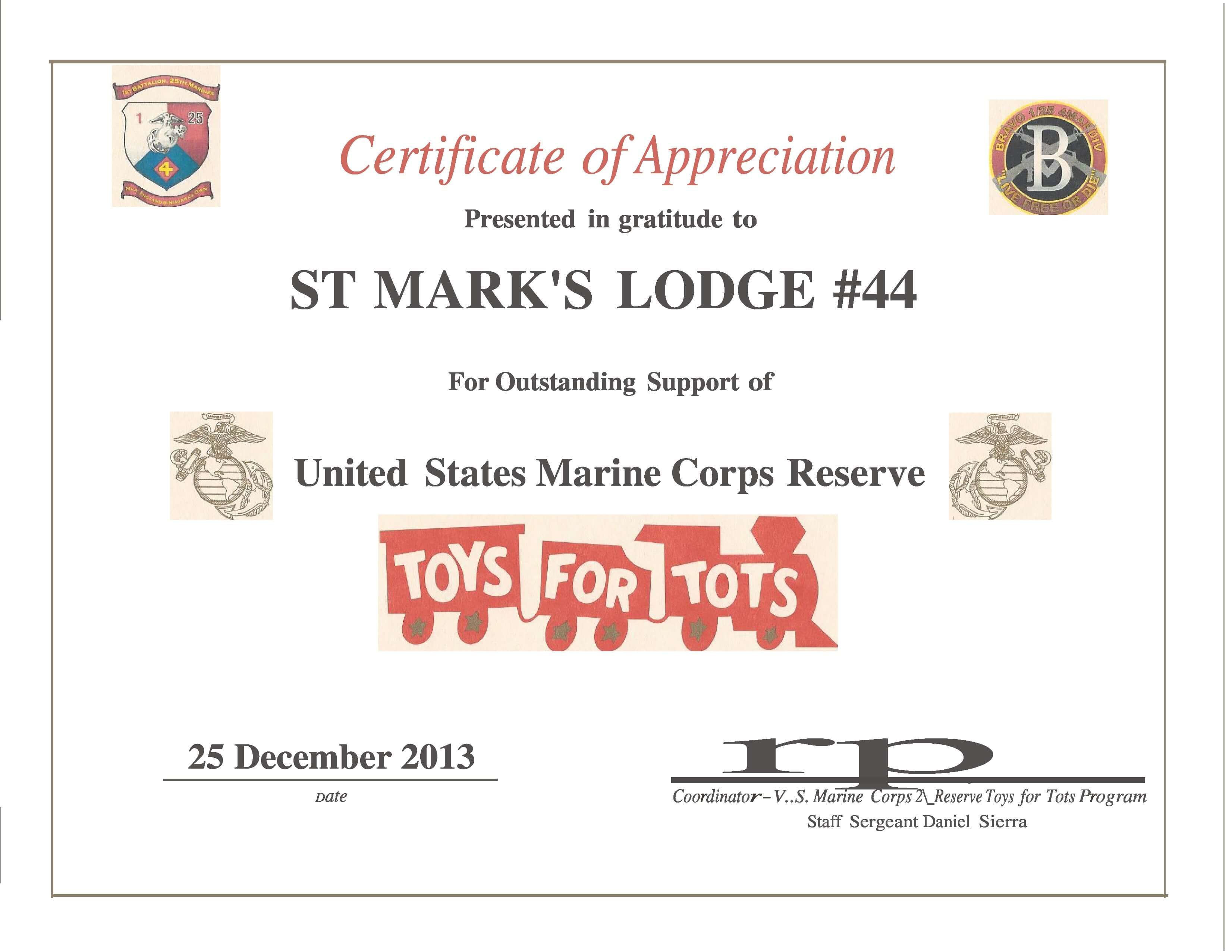 Toys For Tots Plaques : St mark s receives certificate of appreciation