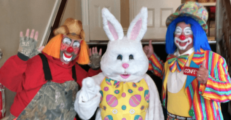 2015 Easter breakfast, bunny and clowns