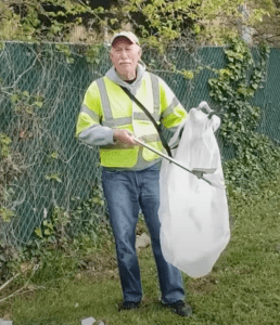 Gordon Simmons collecting highway trash