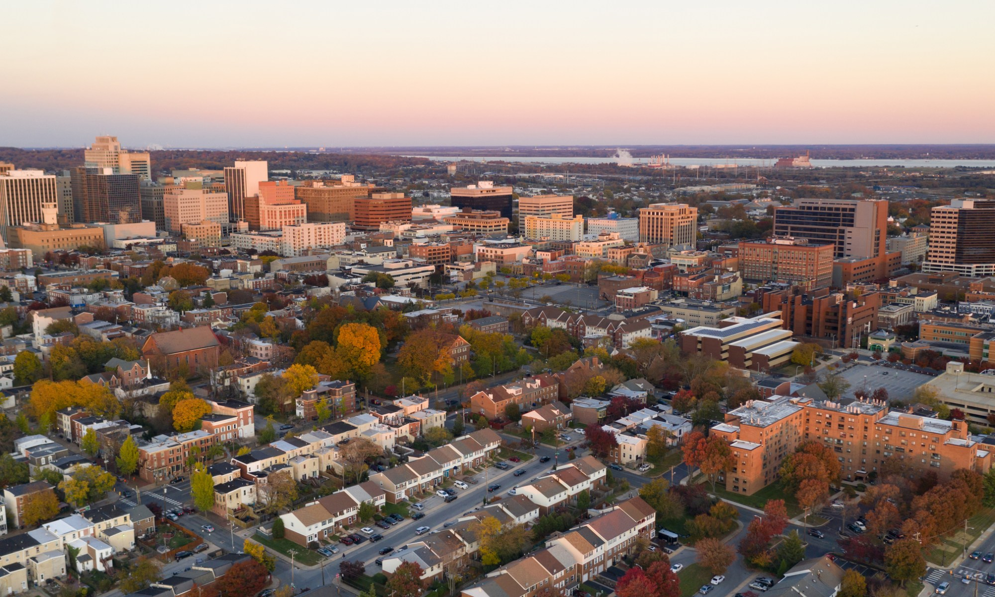An aerial of Wilmington, Delaware