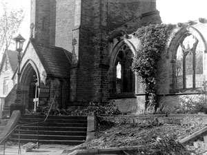 Damage to the original church entrance