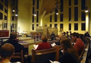 Night service for Remembrance Sunday, held at the front of church