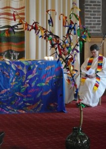Prayer tree at the Sunday Eucharist
