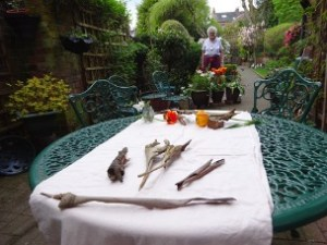 Garden table with nature items as sculpture