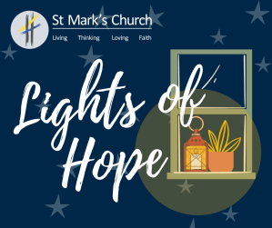 Promotional image for 'Lights of Hope': a window with a lit lamp over a night sky background