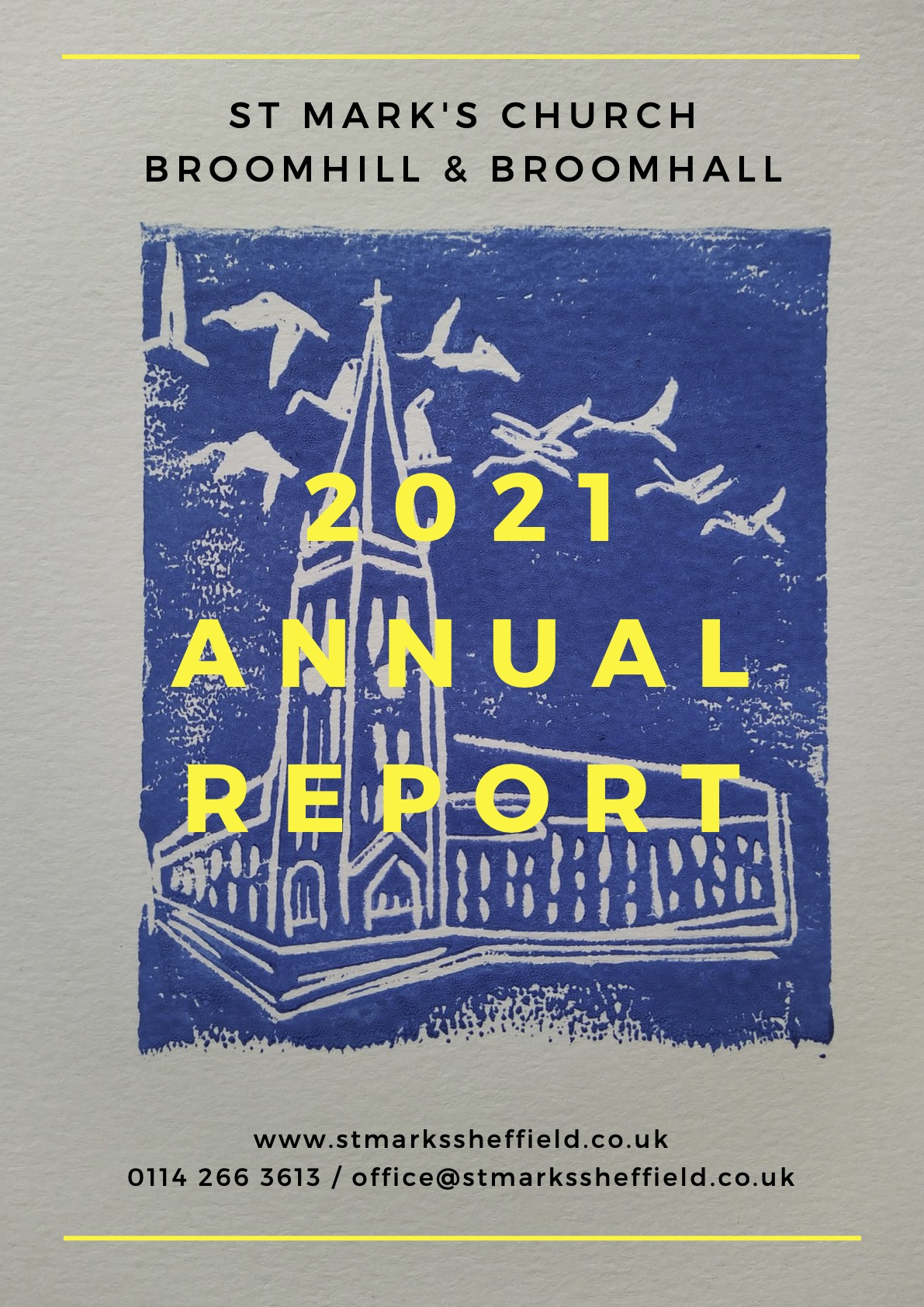 2021 Annual report cover image: lithograph print of St Marks
