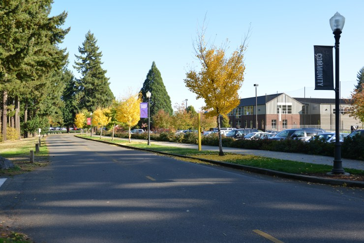 Baran Drive near the student residents, softball field, and Charneski Recreation Center.