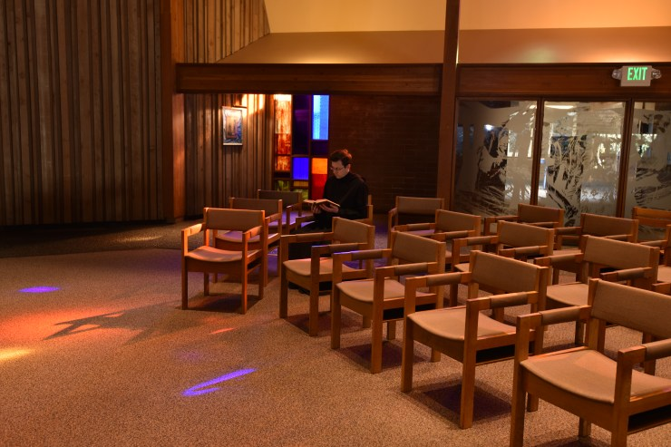 Inside the Abbey Church Eucharistic Hall.