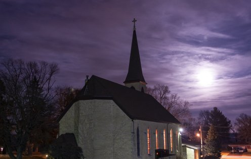"""The January """"super moon"""" as it appeared over St. Mary of Pine Bluff."""