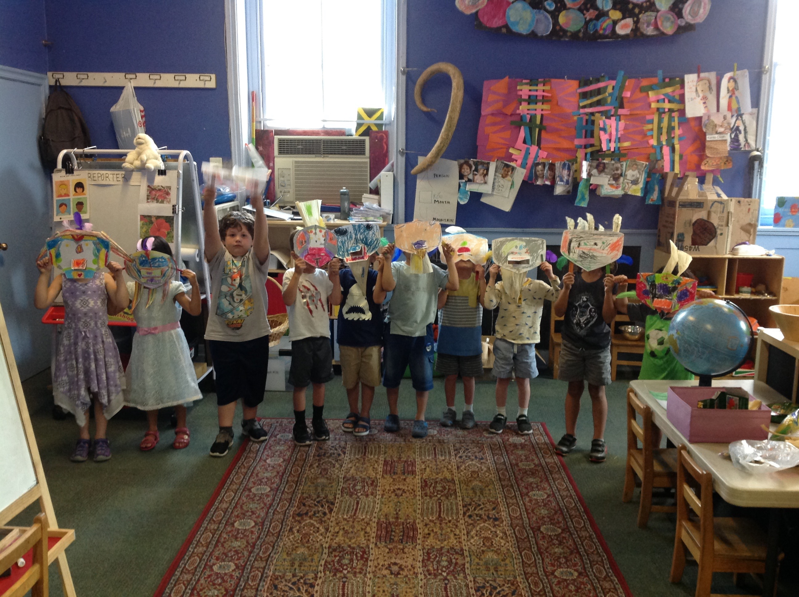 pre-k children with masks they made