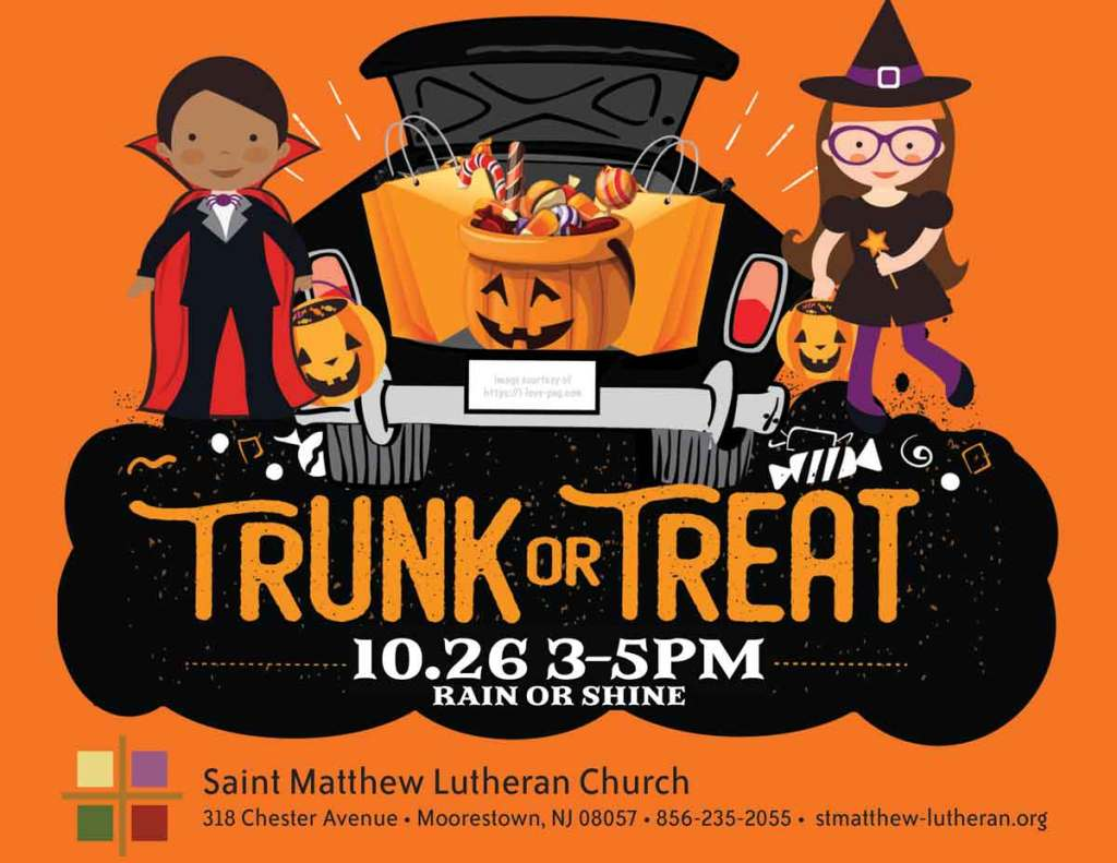 Join us on Saturday, October 26 from 3-5pm in the St. Matthew Parking Lot for Trunk or Treat. Free event open to all.