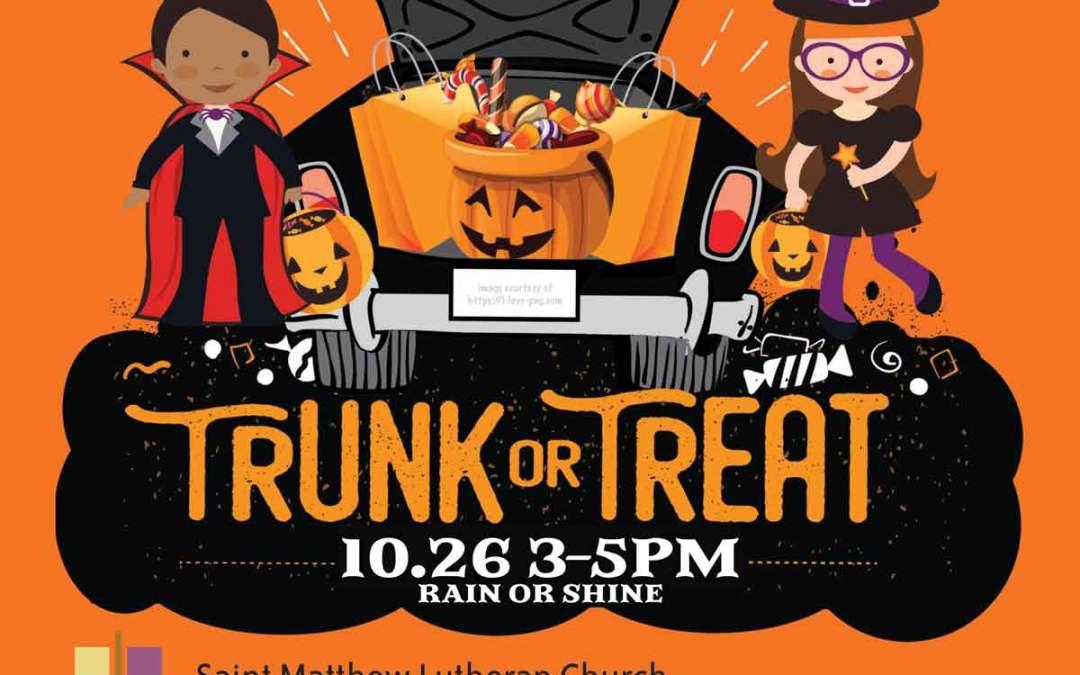 Trunk or Treat 10/26 3-5 pm St. Matthew Lutheran Church Moorestown, NJ
