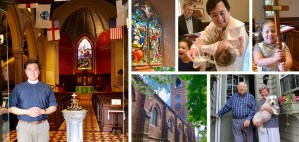 Images of the Rev. Horvath, parishioners and the church.