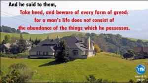 Picture of a large home for prosperity god's way Luke 12:15
