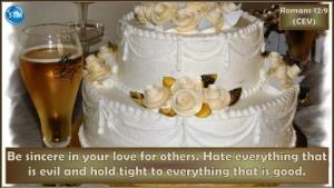 Picture of wedding cake for the Christian life bs Romans 12:9
