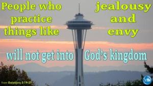 Picture of the space needle for the jealousy bible study Galatians 5:21