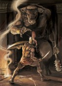 The half-bull, half-human monster fighting against Theseus, the Greek hero | Courtesy of Warriors of Myth
