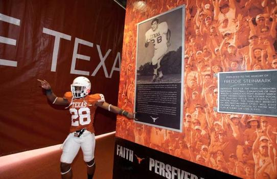 Memorial at the University of Texas in its present state. Football players honor as they make their way to the field | Courtesy of Google