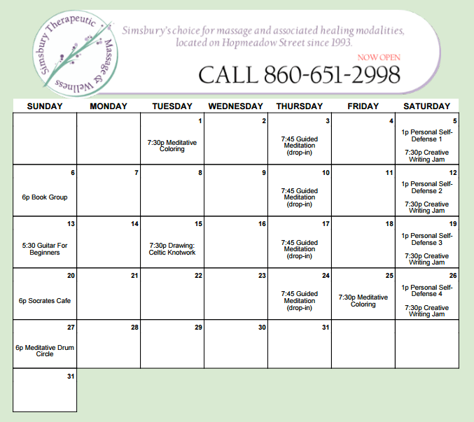 Simsbury Therapeutic Massage March Classes