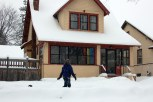 Returning to our cozy home. Note Maggie's head barely peeking out above the snowbank.