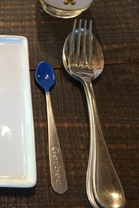 Yes, a gerber spoon. (We also had one course served directly onto our hands with our eyes closed!)
