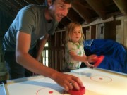 Air hockey with Emory