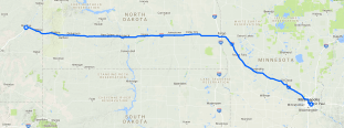 Day one route; note that we intended to stop before Montana, but the campgrounds were all full.