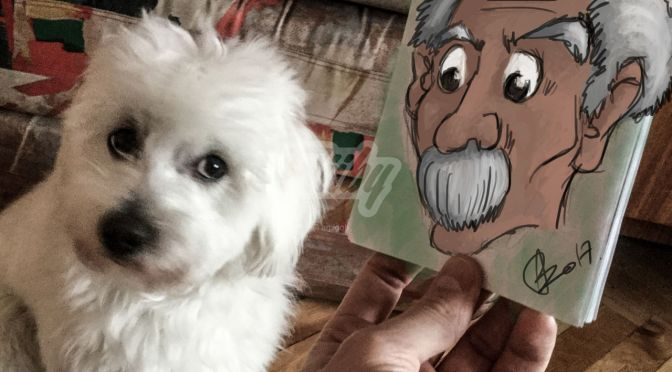 Puppy & a handdrawn old man // sketch