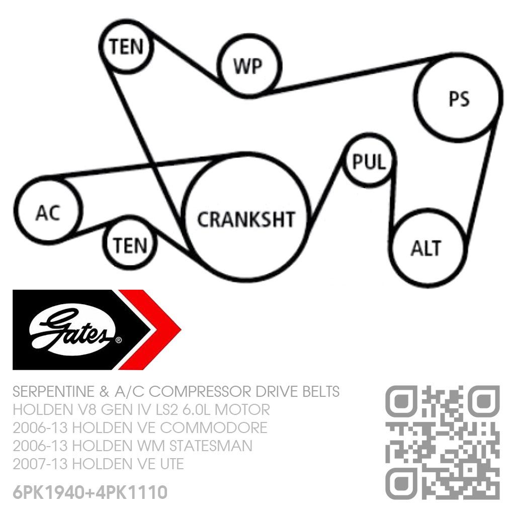 Gates Micro V Serpentine Drive Amp A C Belts V8 Ls2 6 0l