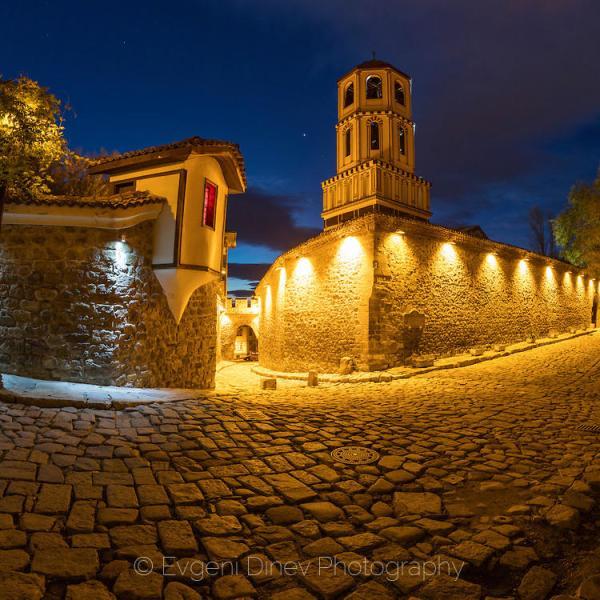 Нощем в стария Пловдив - Фотобанка