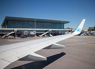 Luxembourg Airport seen from inside a Luxair airplane.